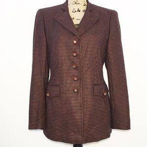 Escada cashmere suit jacket brown houndstooth